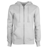 ENZA Ladies White Fleece Full Zip Hoodie-Select-A-Logo