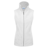 Columbia Ladies Full Zip White Fleece Vest-Select-A-Logo