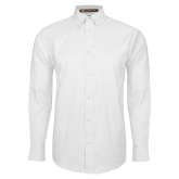 Mens White Oxford Long Sleeve Shirt-Select-A-Logo