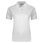 Ladies Easycare White Pique Polo-Select A Logo