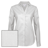 Ladies Red House Diamond Dobby White Long Sleeve Shirt-Select-A-Logo