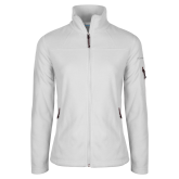 Columbia Ladies Full Zip White Fleece Jacket-Signature Logos