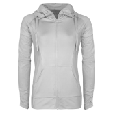 Ladies Sport Wick Stretch Full Zip White Jacket-Select-A-Logo