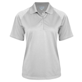 Ladies White Textured Saddle Shoulder Polo-Select-A-Logo