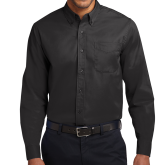 College Black Twill Button Down Long Sleeve-Select-A-Logo