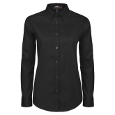 Ladies Black Twill Button Down Long Sleeve-Select-A-Logo
