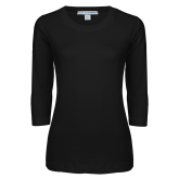 Ladies Black 3/4 Sleeve Scoop Neck-Select-A-Logo