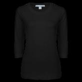 Ladies Black 3/4 Sleeve Scoop Neck-Select-A-Logo