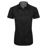 Ladies Black Twill Button Up Short Sleeve-Select-A-Logo