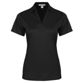 Ladies Black Performance Fine Jacquard Polo-Select-A-Logo