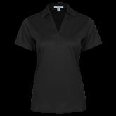 Ladies Black Performance Fine Jacquard Polo-Signature Logos