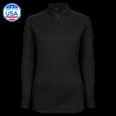 Ladies Syntrel Interlock Black 1/4 Zip-Select-A-Logo