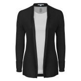 Ladies Black Open Front Cardigan-Select-A-Logo