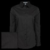 Ladies Black Tonal Pattern Long Sleeve Shirt-Select-A-Logo