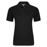 Ladies Easycare Black Pique Polo-Select A Logo