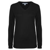 Ladies Black V Neck Sweater-Select-A-Logo