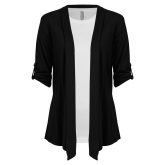 Ladies Black Drape Front Cardigan-Select-A-Logo