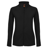 Ladies Fleece Full Zip Black Jacket-Signature Logos