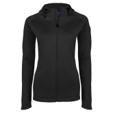 Ladies Tech Fleece Full Zip Black Hooded Jacket-Select-A-Logo