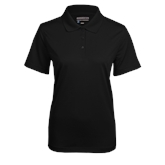 Ladies Black Mini Stripe Polo-Select-A-Logo