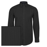 Mens Black Striped Long Sleeve Shirt-Select-A-Logo