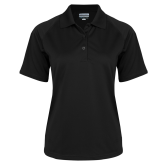 Ladies Black Textured Saddle Shoulder Polo-Select-A-Logo