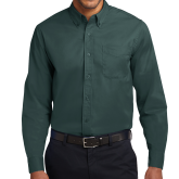 Dark Green Twill Button Down Long Sleeve-Select-A-Logo