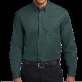 Dark Green Twill Button Down Long Sleeve-Select-A-Logo