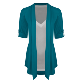 Ladies Teal Drape Front Cardigan-Select-A-Logo