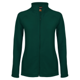 Ladies Fleece Full Zip Dark Green Jacket-Select-A-Logo