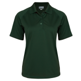 Ladies Dark Green Textured Saddle Shoulder Polo-Select-A-Logo