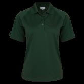Ladies Dark Green Textured Saddle Shoulder Polo-Select-A-Logo