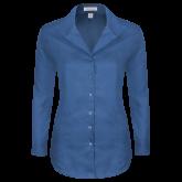 Ladies Red House Deep Blue Herringbone Non Iron Long Sleeve Shirt-Select-A-Logo