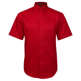 Red Twill Button Down Short Sleeve-Select-A-Logo