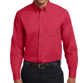 Red Twill Button Down Long Sleeve-Select-A-Logo