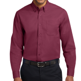 XXX Maroon Twill Button Down Long Sleeve-Select-A-Logo