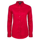 Ladies Red Twill Button Down Long Sleeve-Select-A-Logo