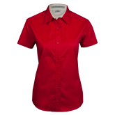 Ladies Red Twill Button Up Short Sleeve-Select-A-Logo