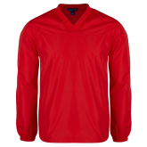 V Neck Red Raglan Windshirt-Select-A-Logo