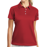 Ladies Nike Dri Fit Red Pebble Texture Sport Shirt-Select-A-Logo