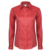 Ladies Red House Red Long Sleeve Shirt-Select-A-Logo