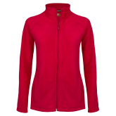Ladies Fleece Full Zip Red Jacket-Select-A-Logo