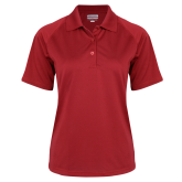 Ladies Red Textured Saddle Shoulder Polo-Select-A-Logo