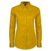 Ladies Gold Twill Button Down Long Sleeve-Select-A-Logo