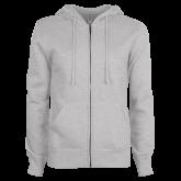 ENZA Ladies Grey Fleece Full Zip Hoodie-Select-A-Logo