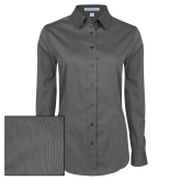 Ladies Grey Tonal Pattern Long Sleeve Shirt-Select-A-Logo