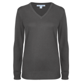 Ladies Charcoal Heather V Neck Sweater-Select-A-Logo
