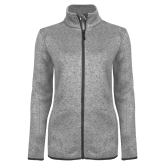 Grey Heather Ladies Fleece Jacket-Select-A-Logo