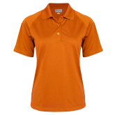 Ladies Orange Textured Saddle Shoulder Polo-Select-A-Logo