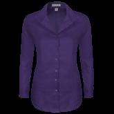 Ladies Red House Deep Purple Herringbone Long Sleeve Shirt-Select-A-Logo